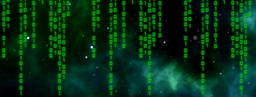 Black sky background with green lines of code vertically imposed